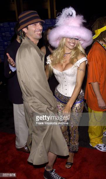 Tommy Lee and Pamela Anderson arrive at the 1999 MTV Music Video Awards held at the Metropolitan Opera House Lincoln Center in New York City on...