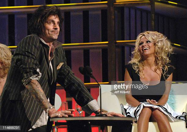 Tommy Lee and Pamela Anderson during Comedy Central Roast of Pamela Anderson Show at Sony Studios in Culver City California United States