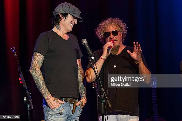 Tommy Lee and Sammy Hagar talk to the audience at 3rd annual Acoustic4aCure benefit concert at The Fillmore on May 15 2016 in San Francisco California