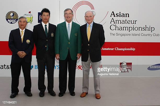 Tommy Lee Chairman of the APGC 2010 AAC Champion Hideki Matsuyama of Japan Billy Payne Chairman of the Masters and Allan Gormly Cairman The RA pose...