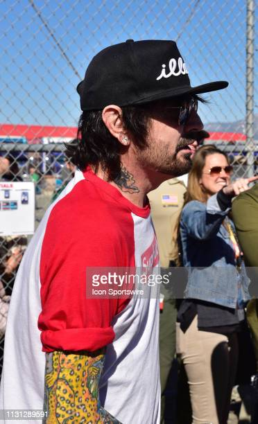 Tommy Lee drummer for the heavy metal band Motley Crue attending drivers meeting at the Monster Energy NASCAR Cup Series Auto Club 400 on March 17...