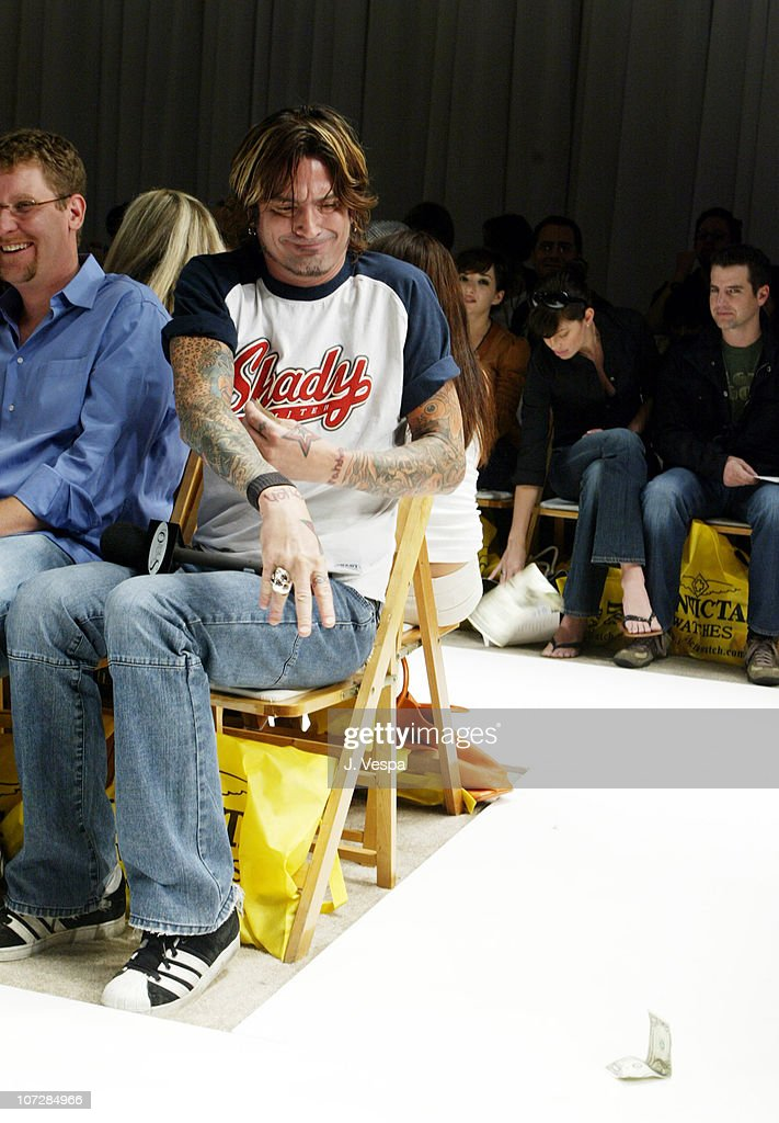 Tommy Lee during Mercedes-Benz Shows LA Fashion Week Spring 2004 - Ashley Paige Backstage and Front Row at The Standard Downtown LA in Los Angeles, California, United States.