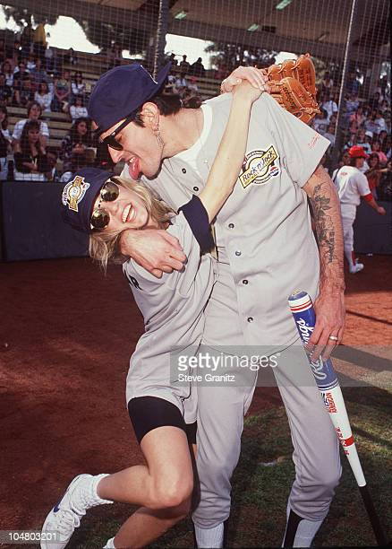 Tommy Lee Heather Locklear during Tommy Lee Heather Locklear at MTV Rock 'n Jock at USC Baseball Field in Los Angeles California United States