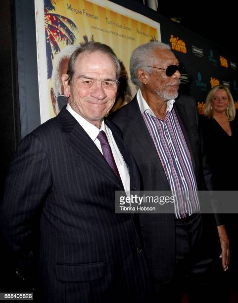 Tommy Lee Jones and Morgan Freeman attend the premiere of 'Just Getting Started' at ArcLight Hollywood on December 7 2017 in Hollywood California