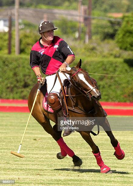 Tommy Lee Jones rides on his horse during a polo match July 16 2000 as his team San Saba competed for the Robert Skene Trophy at the Santa Barbara...