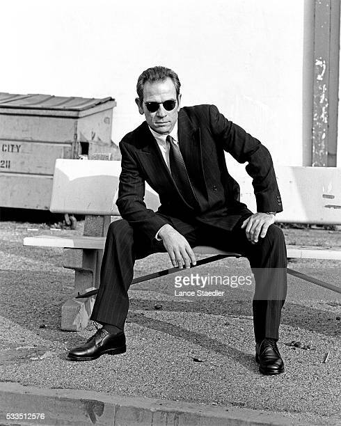 Tommy Lee Jones Seated on Bench