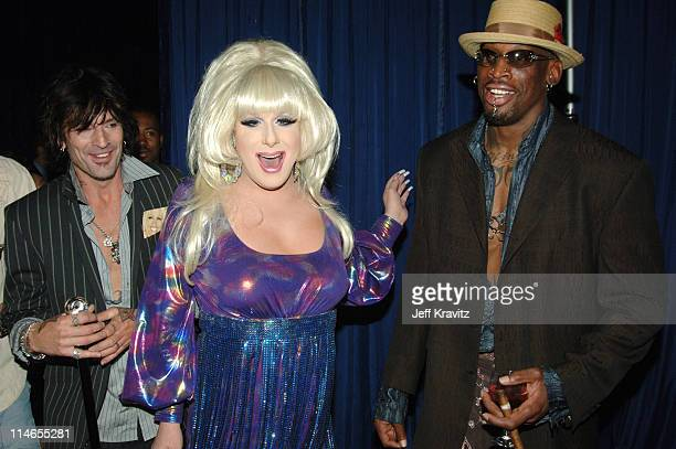 Tommy Lee, Lady Bunny and Dennis Rodman during Comedy Central Roast of Pamela Anderson - Backstage, Green Room and Audience at Sony Pictures Studios...
