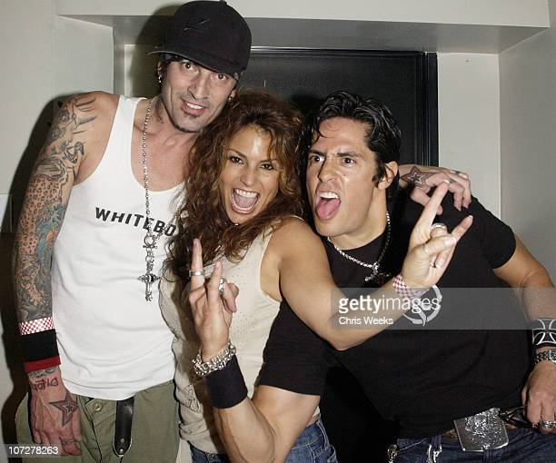 Tommy Lee, Michael Ball and Andrea Bernholtz during Cadillac Presents the Rock & Republic Fashion Concert at the Avalon - Backstage, Show and...