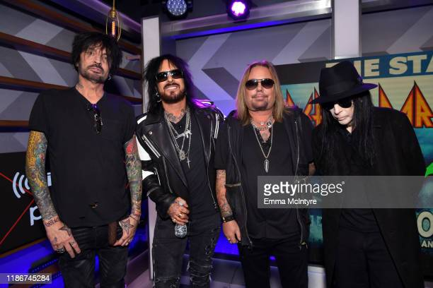 Tommy Lee Nikki Sixx Vince Neil and Mick Mars of Mtley Cre attend the press conference for THE STADIUM TOUR DEF LEPPARD MOTLEY CRUE POISON at...