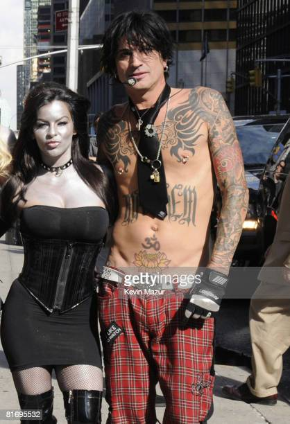 Tommy Lee of Motley Crue arrives at The Late Show with David Letterman to promote their new album Saints of Los Angeles and to kick off their...