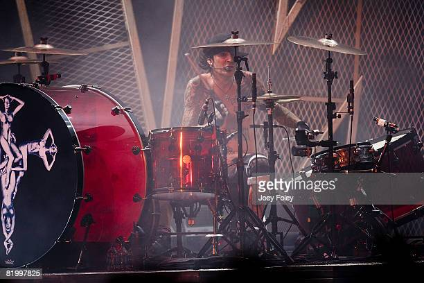 Tommy Lee of Motley Crue performs live during Crue Fest 2008 at the Verizon Wireless Music Center on July 18 2008 in Noblesville Indiana