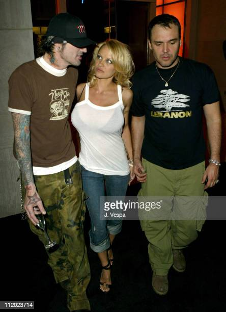 Tommy Lee, Pamela Anderson and David LaChapelle during Rodeo Drive Walk of Style Event Honoring Tom Ford - Inside at Rodeo Drive in Beverly Hills,...