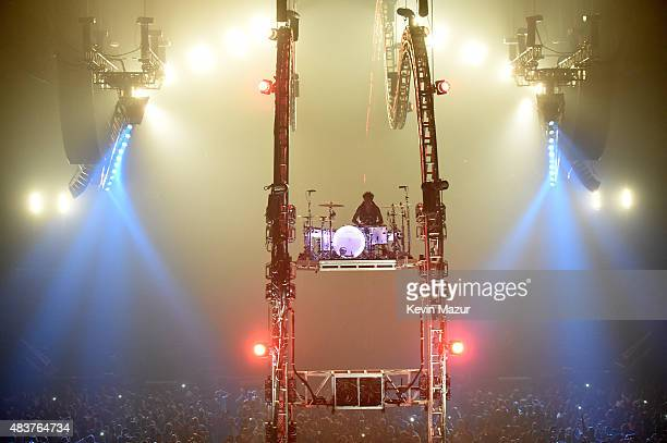 Tommy Lee performs during Motley Crue The Final Tour 'All Good Things Must Come To An End' at Barclays Center of Brooklyn on August 12 2015 in New...