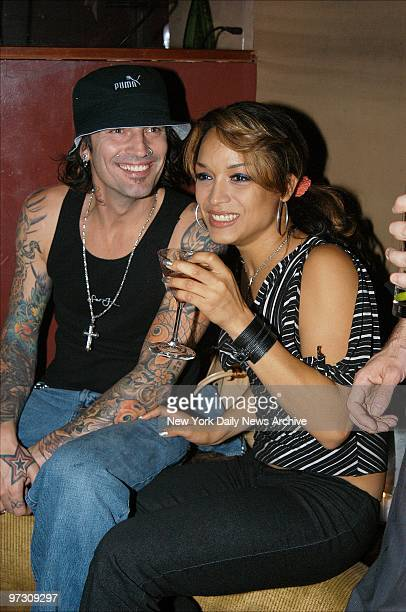 Tommy Lee the former Motley Crue drummer is joined by his girlfriend Mayte Garcia at a party at Club Lotus He has a concert at The World coming up