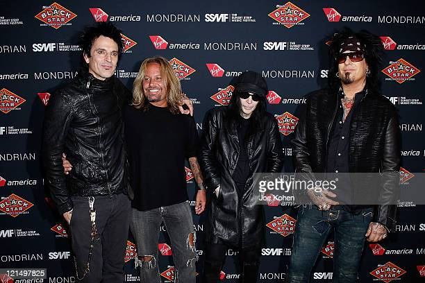 Tommy Lee Vince Neil Mick Mars and Nikki Sixx of Motley Crue attend the 4th Annual Sunset Strip Music Festival Get Stripped After Party on August 19...