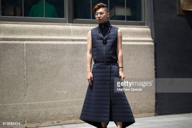 Tommy Lei is seen attending Deveaux at EN Japanese Brasserie during Men's New York Fashion Week wearing Rick Owens and COS on July 12 2017 in New...