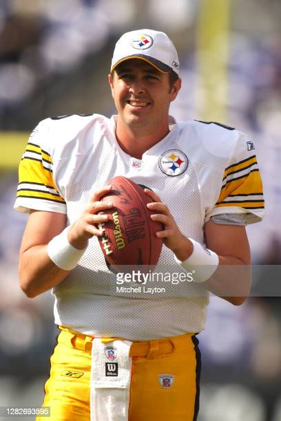 Tommy Maddox of the Pittsburg Steelers warms up before an NFL football game against the Baltimore Ravens on October 27, 2002 at Ravens Stadium in...