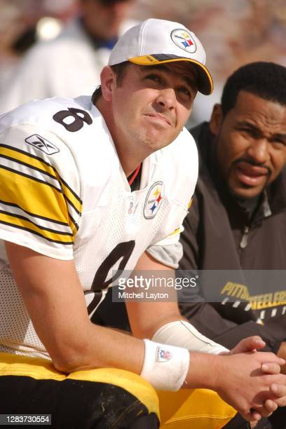 Tommy Maddox of the Pittsburgh Steelers looks on during a NFL football game against the Baltimore Ravens on October 27, 2002 at Ravens Stadium in...