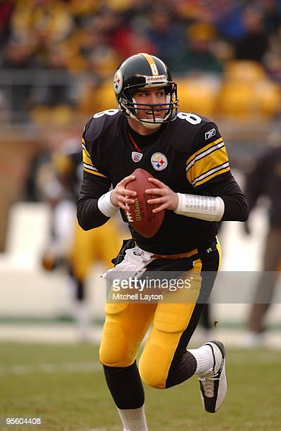 Tommy Maddox of the Pittsburgh Steelers looks to throw the ball during a NFL football game against the Carolina Panthers on December 15, 2002 at...