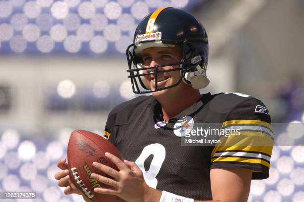 Tommy Maddox of the Pittsburgh Steelers warms up before a NFL football game against the Baltimore Ravens on September 19, 2004 at M & T Stadium in...