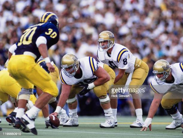 Tommy Maddox, Quarterback for the University of California, Los Angeles UCLA Bruins prepares to take the snap during the NCAA Division I-A Big 10...