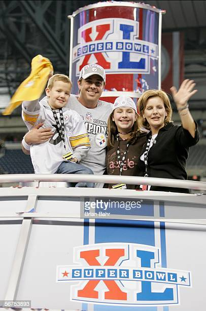 Tommy Maddox the Pittsburgh Steelers celebrates with his family following the Steelers 2110 win over the Seattle Seahawks in Super Bowl XL at Ford...