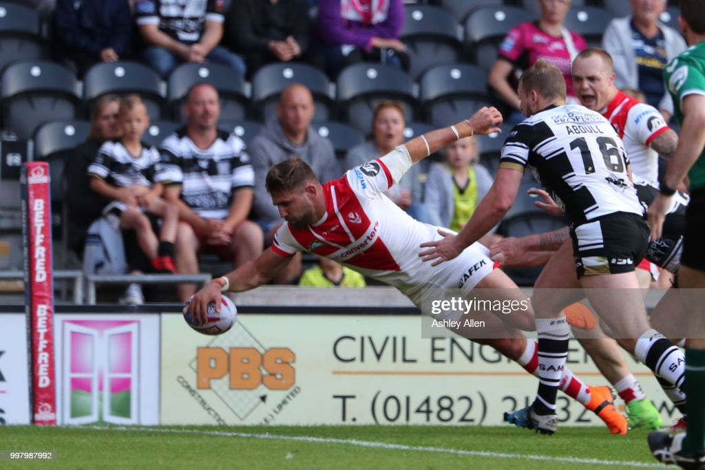 Tommy Makinsons scores a try during the BetFred Super League match between Hull FC and St Helens Saints at the KCOM Stadium on July 13, 2018 in Hull, England.
