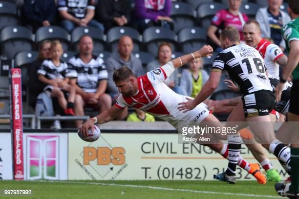 Tommy Makinsons scores a try during the BetFred Super League match between Hull FC and St Helens Saints at the KCOM Stadium on July 13, 2018 in Hull,...