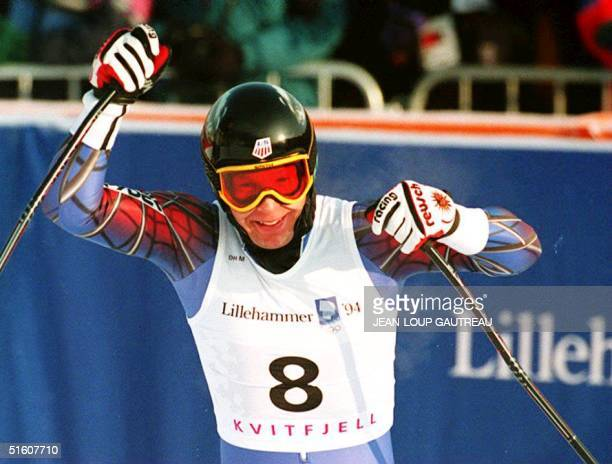 Tommy Moe of the U.S. Celebrates 13 February 1994 after setting the best time in the men's Olympic downhill event in Kvitfjell, Norway. Moe won the...