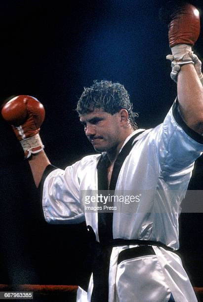 CIRCA 1989 Tommy Morrison attends the Starstudded exhibition fight where Tommy The Duke Morrison demonstrates why Sylvester Stallone cast him for...