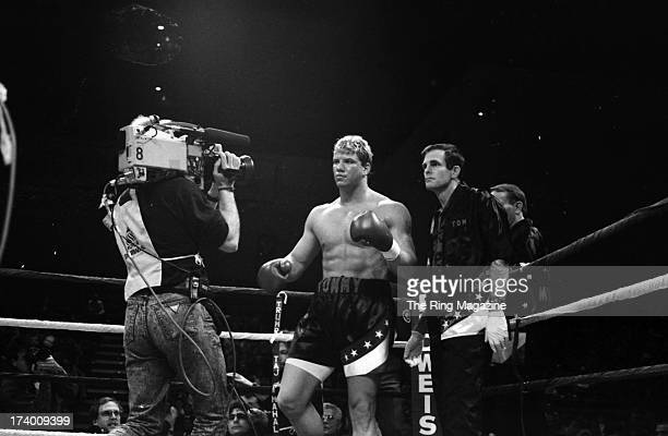 Tommy Morrison celebrates before the fight against James Tillis during the fight at Trump Taj Mahal in Atlantic City New Jersey Tommy Morrison won by...