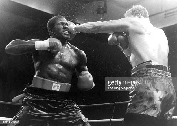 Tommy Morrison connects with a left jab against Ross Puritty during the fight at the Convention Center on July 281994 in Atlantic City New Jersey