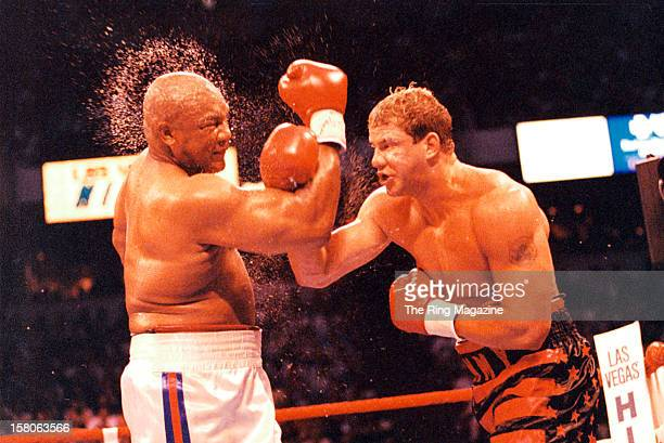 Tommy Morrison connects with a right punch against George Foreman at the Thomas Mack Center on June 71993 in Las Vegas Nevada Tommy Morrison won by a...