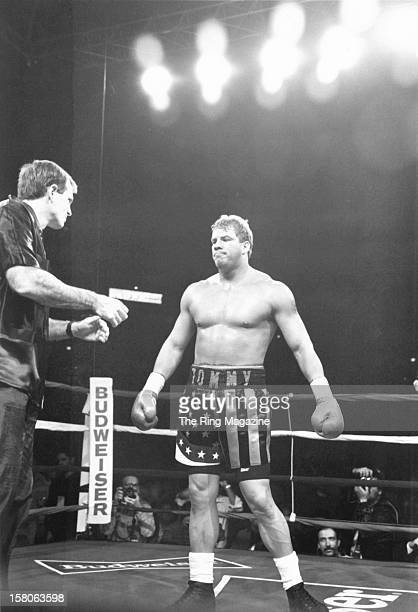Tommy Morrison gets ready in the ring before the fight against Marshall Tillman at the America West Arena on December 121992 in Phoenix Arizona Tommy...