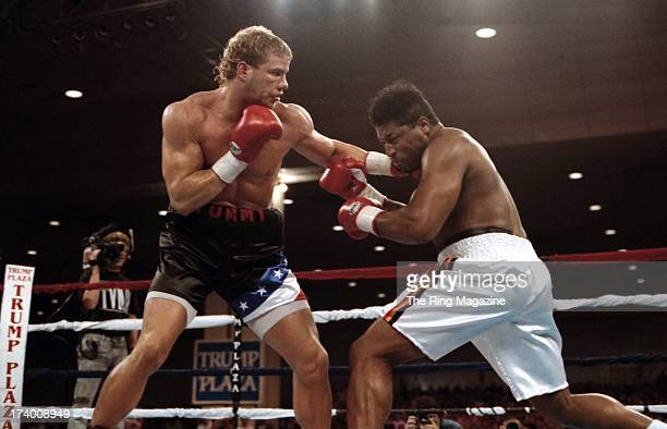 Tommy Morrison lands a punch against Ray Mercer during the fight at the Convention Center in Atlantic City New Jersey Ray Mercer won the WBO...