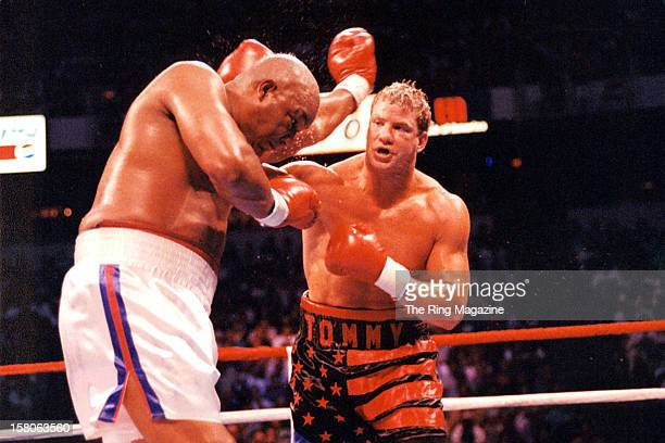 Tommy Morrison lands a right punch against George Foreman at the Thomas Mack Center on June 71993 in Las Vegas Nevada Tommy Morrison won by a UD 12