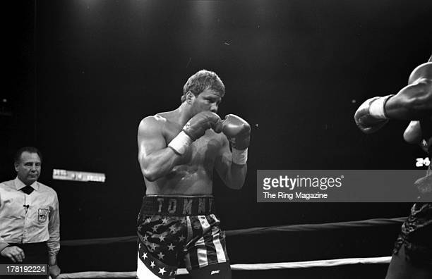 Tommy Morrison looks to throw a punch against Marshall Tillman at America West Arena in Phoenix Arizona