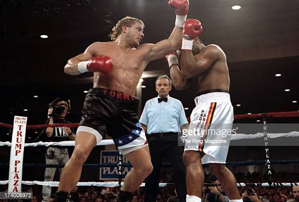 Tommy Morrison throws a punch against Ray Mercer during the fight at the Convention Center in Atlantic City New Jersey Ray Mercer won the WBO...