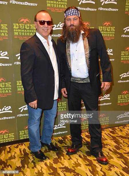 Tommy Mottola and Willie Robertson arrive at the Duck Commander Musical opening night at the Rio Hotel Casino on April 15 2015 in Las Vegas Nevada
