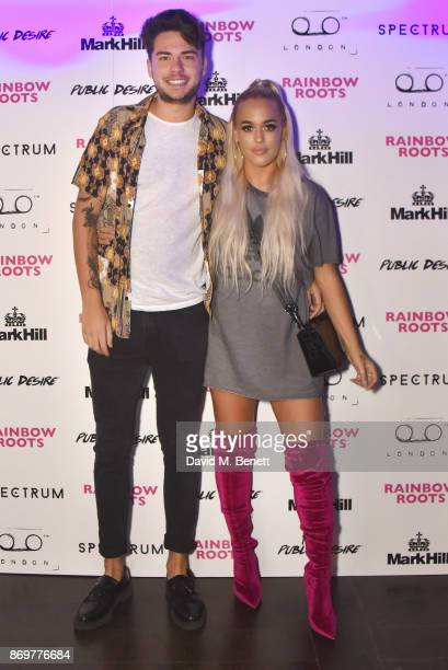 Tommy Napolitano and Lottie Tomlinson arrive at Lottie Tomlinson's 'Rainbow Roots' book launch at Tape London on November 2 2017 in London England