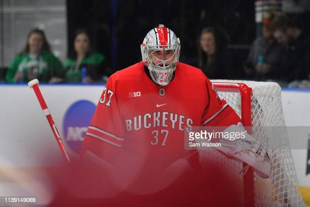 Tommy Nappier of the Ohio State Buckeyes looks on during his team's NCAA Division I Men's Ice Hockey West Regional Championship Semifinal game...