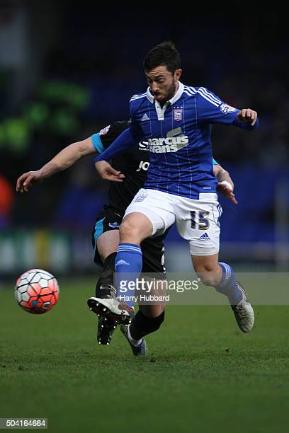 Tommy Oar of Ipswich and Ben Davies of Portsmouth in action during the Emirates FA Cup Third Round match between Ipswich Town and Portsmouth at...