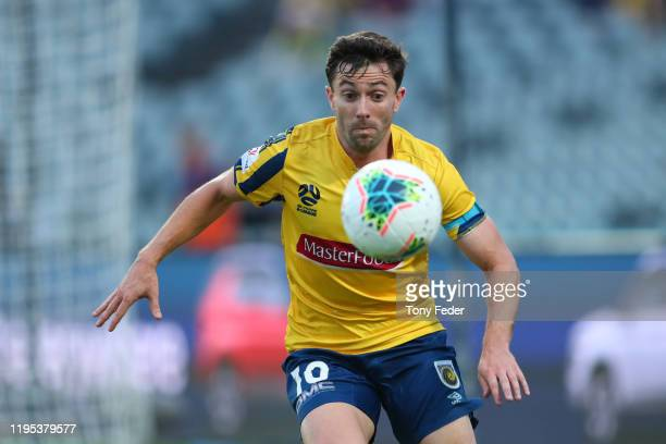 Tommy Oar of the Central Coast Mariners controls the ball during the round 11 ALeague match between the Central Coast Mariners and Adelaide United at...