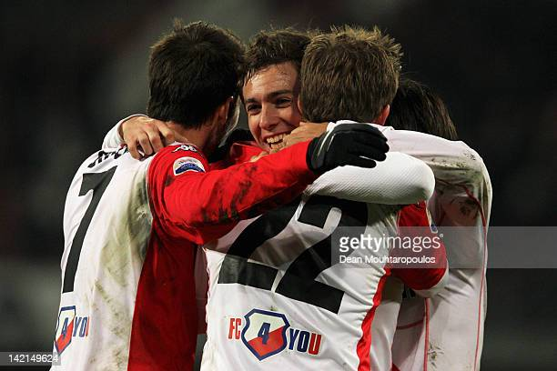 Tommy Oar of Utrecht celebrates with team mates after scoring the winning goal in the final minutes during the Eredivisie match between FC Utrecht...