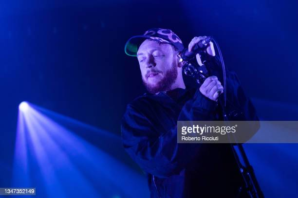 Tommy O'Dell of DMA'S performs on stage at O2 Academy Edinburgh on October 18, 2021 in Edinburgh, Scotland.