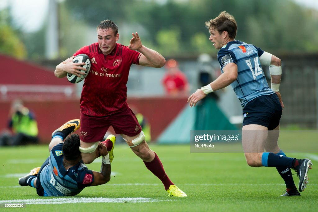 Tommy O'Donnell of Munster tackled by Willis Halaholo of Cardiff during the Guinness PRO14 Conference A Round 5 match between Munster Rugby and Cardiff Blues at Thomond Park in Limerick, Ireland on September 30, 2017