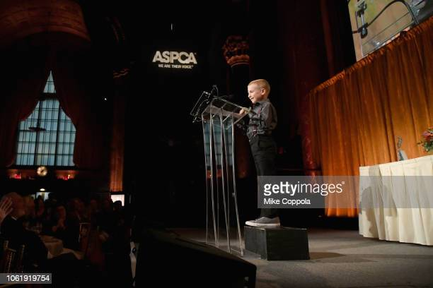 Tommy P Monahan Kid of Year Award Honoree Roman McConn speaks onstage at the the ASPCA Hosts 2018 Humane Awards Luncheon at Cipriani 42nd Street on...