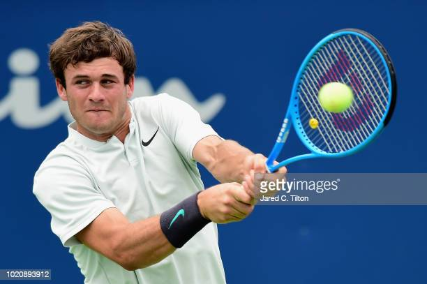 Steve Johnson reacts following a point against Tommy Paul during their match on day two of the WinstonSalem Open at Wake Forest University on August...