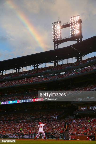 Tommy Pham of the St. Louis Cardinals bats against the Arizona Diamondback in the third inning at Busch Stadium on July 27, 2017 in St. Louis,...