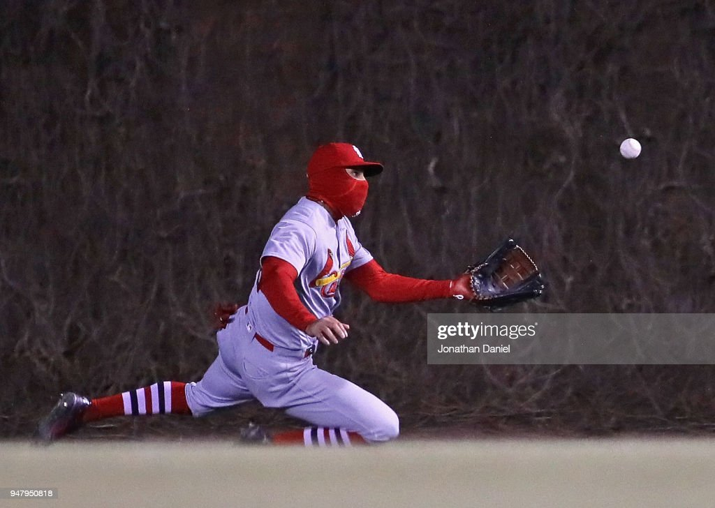 Tommy Pham #28 of the St. Louis Cardinals makes a diving catch in trhe 7th inning against the Chicago Cubs at Wrigley Field on April 17, 2018 in Chicago, Illinois.